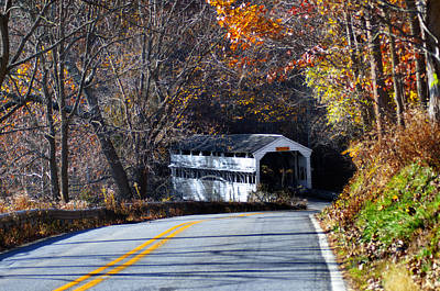 Valley Forge Covered Bridge In The Fall Print by Bill Cannon