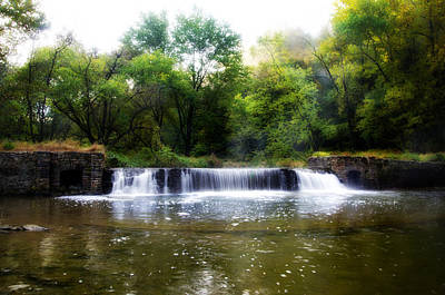 Valley Forge Pa - Valley Creek Waterfall  Art Print by Bill Cannon