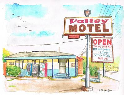 Coca Cola Sign Painting - Valley Motel In San Bernardino Route 66 - California by Carlos G Groppa