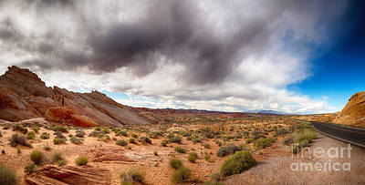 Valley Of Fire With Dramatic Sky Art Print by Jane Rix