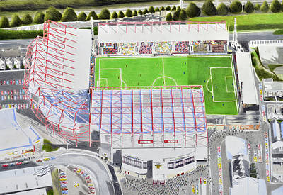 Painting - Valley Parade Stadia Art - Bradford City Fc by Brian Casey