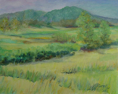 K Joann Russell Painting - Valley Ranch Rural Western Landscape Painting Oregon Art  by Elizabeth Sawyer