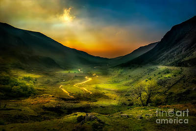 North Wales Digital Art - Valley Shadows by Adrian Evans