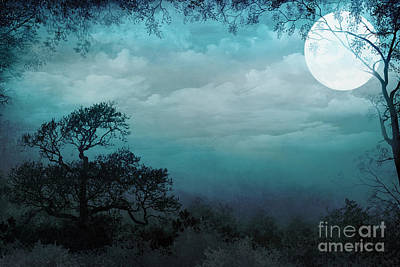 Fantasy Tree Art Mixed Media - Valley Under Moonlight by Bedros Awak