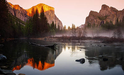 Cathedral Rock Photograph - Valley View Winter Sunset Yosemite National Park by Scott McGuire