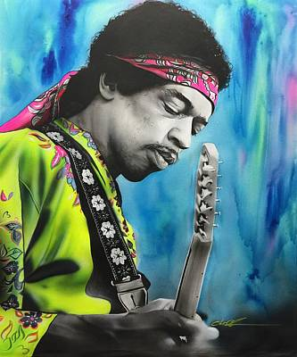 Jimi Hendrix - ' Valleys Of Saturn ' Art Print by Christian Chapman Art
