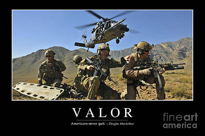 Valor Inspirational Quote Art Print by Stocktrek Images