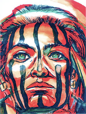 Indian Tribal Art Painting - Valor by Patricia Allingham Carlson