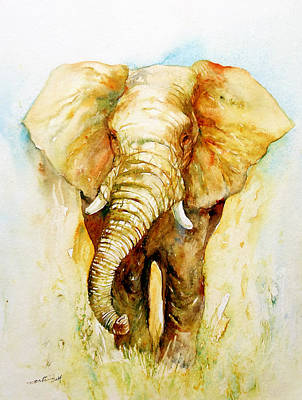 Yellow Elephant Painting - Valorous by Arti Chauhan
