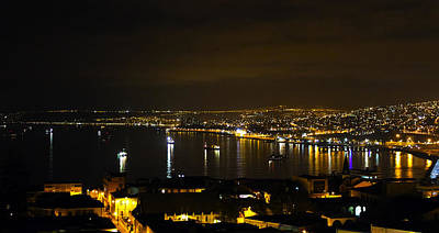 Photograph - Valparaiso Harbor At Night by Kurt Van Wagner