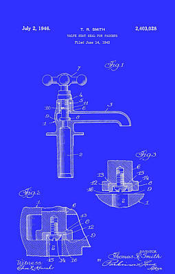 Seals Drawing - Valve Seal For Faucets Patent 1946 by Mountain Dreams