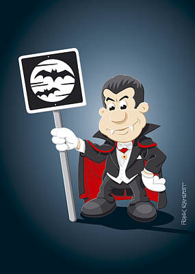 Count Dracula Digital Art - Vampire Cartoon Man Bat Moon Sign by Frank Ramspott