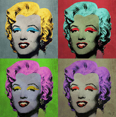 Dracula Digital Art - Vampire Marilyn Set Of 4 by Filippo B