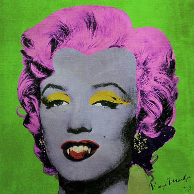 Dracula Digital Art - Vampire Marilyn Variant 2 by Filippo B