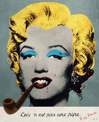 Marilyn Monroe Digital Art - Vampire Marilyn With Surreal Pipe by Filippo B