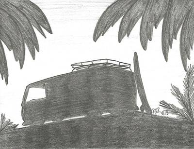 Surfing Drawing - Van And Board  by Ray Ratzlaff
