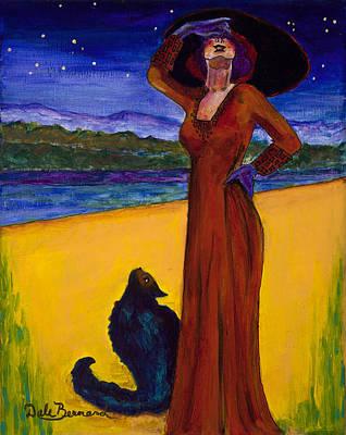 Van Goes With Mrs. Klimt On A Starry Night Art Print