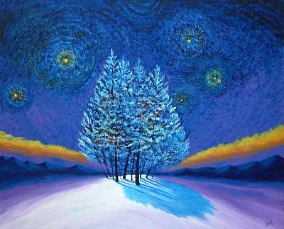 Van Gogh Blue Christmas Art Print by Reggie Hart