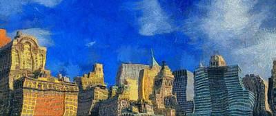 Skyscraper Mixed Media - Van Gogh Meets Manhattan by Dan Sproul