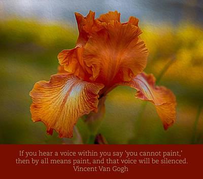 Digital Art - Van Gogh Orange Iris by Omaste Witkowski