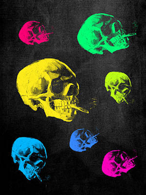 Neon Colors Digital Art - Van Gogh Skull With Burning Cigarette Remixed by Filippo B