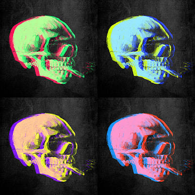Neon Colors Digital Art - Van Gogh Skull With Burning Cigarette Remixed Set Of 4 by Filippo B