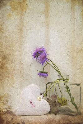 Stil Life Photograph - Van Gogh Style Digital Painting Beautiful Flower In Vase With Heart Still Life Love Concept by Matthew Gibson