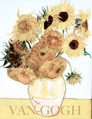Digital Art - Van-gogh Sunflowers by Carlos Diaz