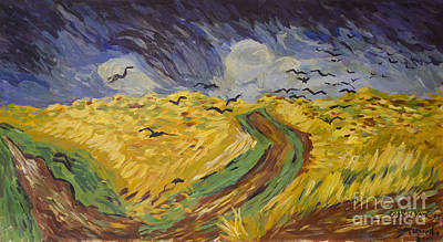 Replica Painting - Van Gogh Wheat Field With Crows Copy by Avonelle Kelsey