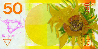 Sunflowers Drawings - Van Goghs 50 Gulden Note with his Sunflower by Jose A Gonzalez Jr
