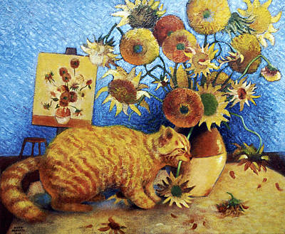 Funny Cat Painting - Van Gogh's Bad Cat by Eve Riser Roberts