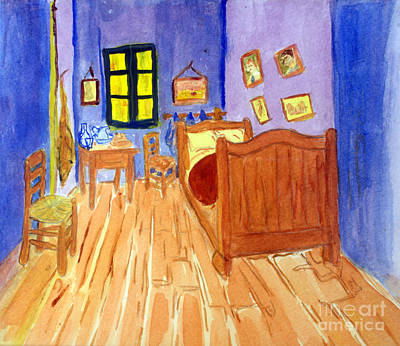 Remodernist Painting - van Goghs Bedroom on Arles in Watercolor by Donna Walsh