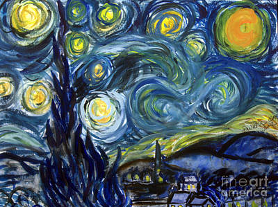 Remodernist Painting - van Goghs Starry Night in watercolor by Donna Walsh