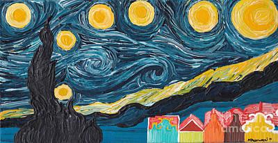 Van Gogh's Starry Night With Curacao's Handelskade Original by Melissa Vijay Bharwani