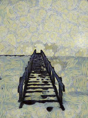 Staircase Mixed Media - Van Gogh's Starry Walk by Dan Sproul