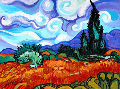 Painting - Van Goghs Wheat Field With Cypress by Genevieve Esson