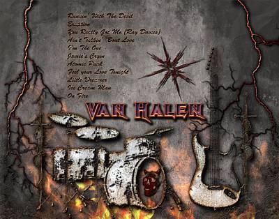 Rock And Roll Digital Art - Van Halen by Michael Damiani