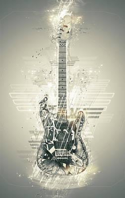 Eric Clapton Digital Art - Van Halen's Frankenstrat by Taylan Apukovska