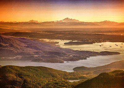 Photograph - Vancouver And Mt Baker Aerial View by Eti Reid