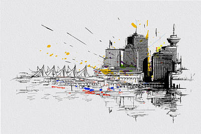 Vancouver Sketch Painting - Vancouver Art 004 by Catf