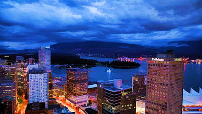 Photograph - Vancouver At Night by Jordan Blackstone