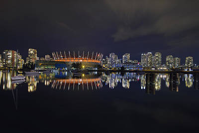 Vancouver Bc Canada City Skyline By False Creek At Night Art Print by David Gn