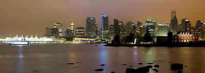 Vancouver Bc City Skyline At Night Art Print by David Gn