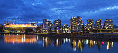 Vancouver Bc City Skyline With Bc Place At Blue Hour Art Print by David Gn