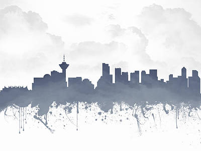 British Columbia Mixed Media - Vancouver British Columbia Skyline - Blue 03 by Aged Pixel