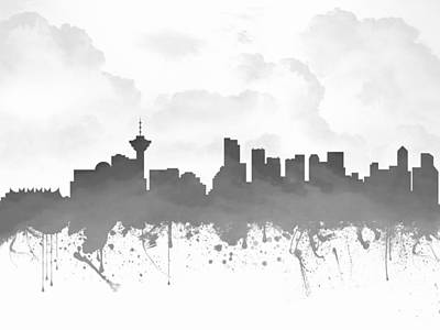 British Columbia Mixed Media - Vancouver British Columbia Skyline - Gray 03 by Aged Pixel