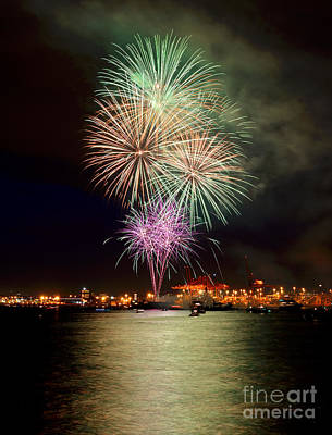 Photograph - Vancouver Canada Day Fireworks 2014 - 2 by Terry Elniski
