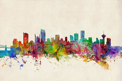 British Digital Art - Vancouver Canada Skyline by Michael Tompsett