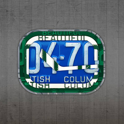 British Columbia Mixed Media - Vancouver Canucks Hockey Team Retro Logo Vintage Recycled British Columbia Canada License Plate Art by Design Turnpike