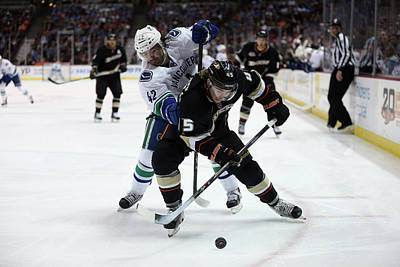 Photograph - Vancouver Canucks V Anaheim Ducks by Jeff Gross